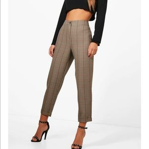 Petite checked tapered trousers. Brand new